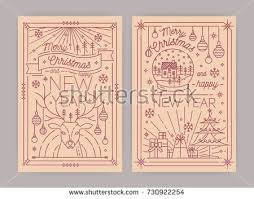Happy New Year Decorations Merry Christmas Happy New Year Greeting Stock Vector 730922254