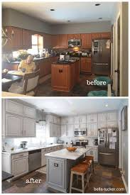 Bright White Kitchen Cabinets Quartz Countertops Painted Kitchen Cabinets Before And After