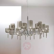 Glass Shade Chandelier Designer Chandelier Spillray With Glass Shades Lights Co Uk