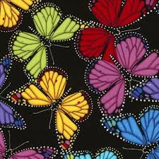 black fabric with colorful butterfly fabric by timeless treasures