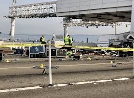 Flags Half Staff Today California Bay Bridge Toll Booth Crash Four Lanes Closed Sunday Morning