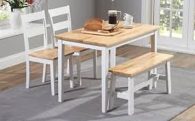 oak and white painted dining table sets