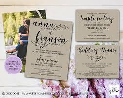 lds wedding invitations kraft wedding invite etsy