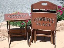 custom western tv tray table set your western decor cool home