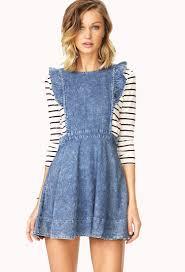 forever 21 darling denim pinafore dress in blue lyst
