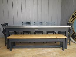 bench order zinc topped table with painted bench chairs made to order