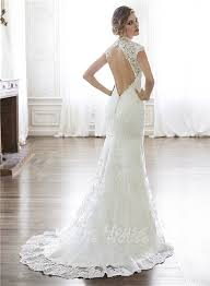 backless lace wedding dresses mermaid neckline cap sleeve backless lace wedding