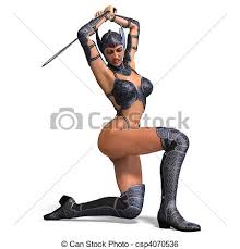 amazon warrior female amazon warrior with sword and armor 3d rendering and
