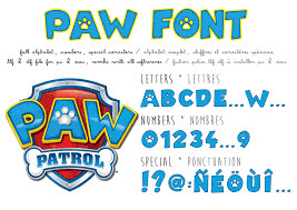 paw patrol font ttf to install pc et mac alphabet