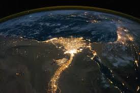 World At Night Map by Nile River Delta At Night Image Of The Day