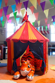 circus party ikea tent and blow up tiger circus birthday party