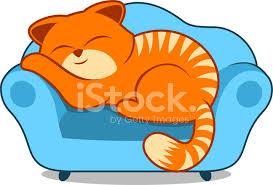 Cartoon Armchair Orange Striped Lazy Cat Sleeping On Sofa Blue Armchair Stock