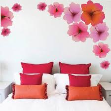 Bedroom Hibiscus Flower Wall Decals Fowers For Bedrooms Wall - Flower designs for bedroom walls