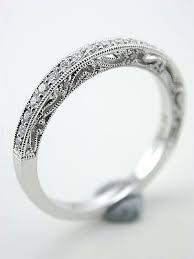 diamond filigree wedding band white gold vintage wedding band