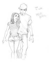 my gf and i fast sketch by carlosgomezartist on deviantart