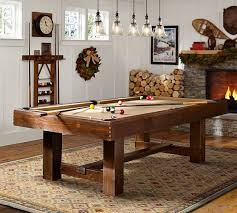 light over pool table pottery barn pool table rustic mahogany pottery barn