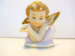 Angel Home Decor Vintage Bisque Bradley Exclusives Angel Statue Porcelain Cherub
