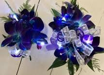 blue orchid corsage bomb blue dendrobium orchid wrist corsage wth rhinestones