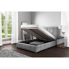 safina double ottoman bed in grey velvet furniture123