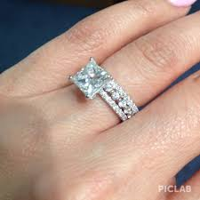 Stacked Wedding Rings by Thin Princess Cut Diamond Engagement Ring With Two Diamond