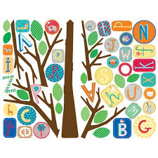 primary abc tree giant removable wall decals wall2wall primary abc tree giant removable wall decals