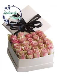 Roses In A Box Dozen Pink Roses In A Box