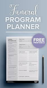how to plan a funeral free printable funeral program planner funeral bespoke and pdf