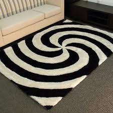 5 X7 Area Rug 3d Shaggy 804 Abstract 2 Tone Large Swirl Design Black Color Area