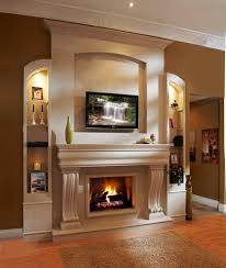 cast stone fireplace living room mediterranean with wallpaper and