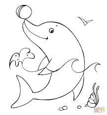 dolphin with the ball coloring page free printable coloring pages
