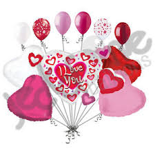 heart balloon bouquet 11pc heart cluster i you balloon bouquet mine hug happy