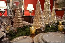 mercury glass tree table setting tablescape