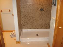 Bathroom Tile Shower Designs by Fiberglass Shower Pan Home Depot Combine Elegant Mosaic Tile