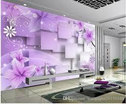 Wallpapers Home Decor Home Decor Living Room Purple Warm Flowers Tv Wall