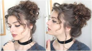 hairstyles for curly and messy hair giant messy curly bun tutorial youtube