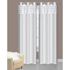 White Faux Silk Curtains Pair Of Sparkle White Faux Silk Window Curtain Panels W Grom