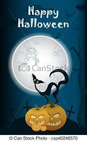 black cat on moon background on pumpkins vectors