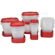 Red Canisters For Kitchen Rubbermaid Easy Find Lids Food Storage Container 40 Piece Set