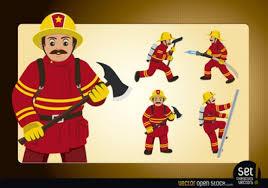 cartoon fireman characters action vector free download