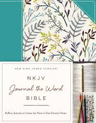 nkjv journal the word bible cloth over board blue floral red