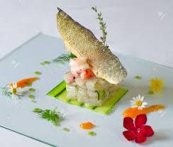 cuisine haute fish dish service of haute cuisine stock photo picture