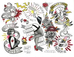 rocky horror picture show tattoo flash sheet by kristyn michele