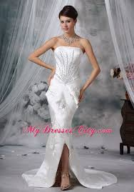 strapless court train satin beading wedding dress with high slit