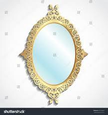 3d golden ornamental frame mirror on stock vector 691556029