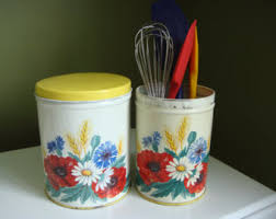 tin kitchen canisters vintage kitchen canisters etsy