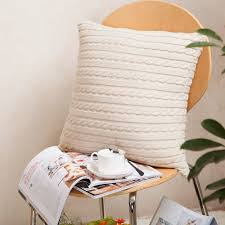 Knitted Cushion Cover Patterns Online Get Cheap Cable Knit Pillow Covers Aliexpress Com