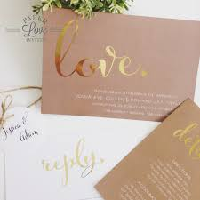 wedding invitations queensland paper invites rustic brown invitation with gold foil print