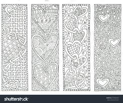 coloring page valentine s day bookmarks stock photo 253800433