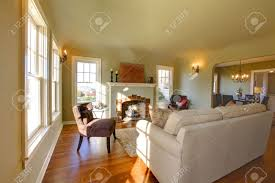 green walls beige tones and cozy craftsman style living room