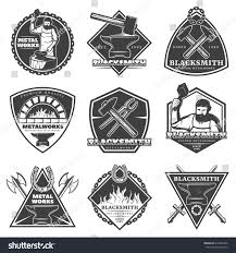 monochrome vintage blacksmith labels set workman stock vector
